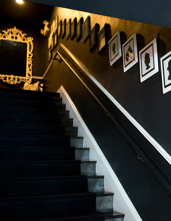 A stair case leading to the upstairs of the Maison 140 hotel in Los Angeles