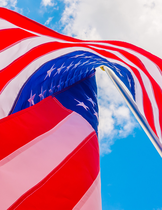 American Flag on a pool