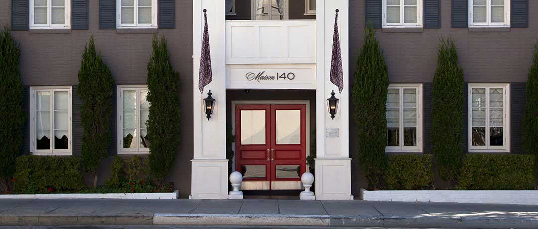 The front exterior of the Maison 140 hotel in Beverly Hills